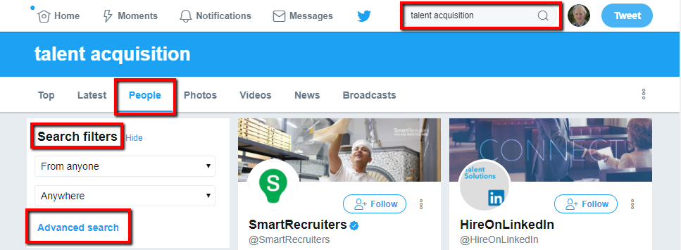 Using Twitter Search to Find People